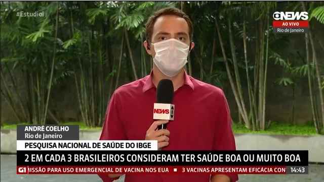 GloboNews: IBGE – 2 em cada 3 brasileiros consideram ter saúde boa ou muito boa